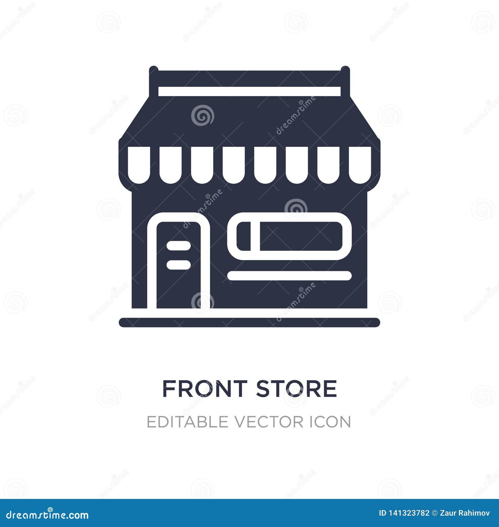 Tienda delantera con el icono del toldo en el fondo blanco Ejemplo simple del elemento del concepto del comercio