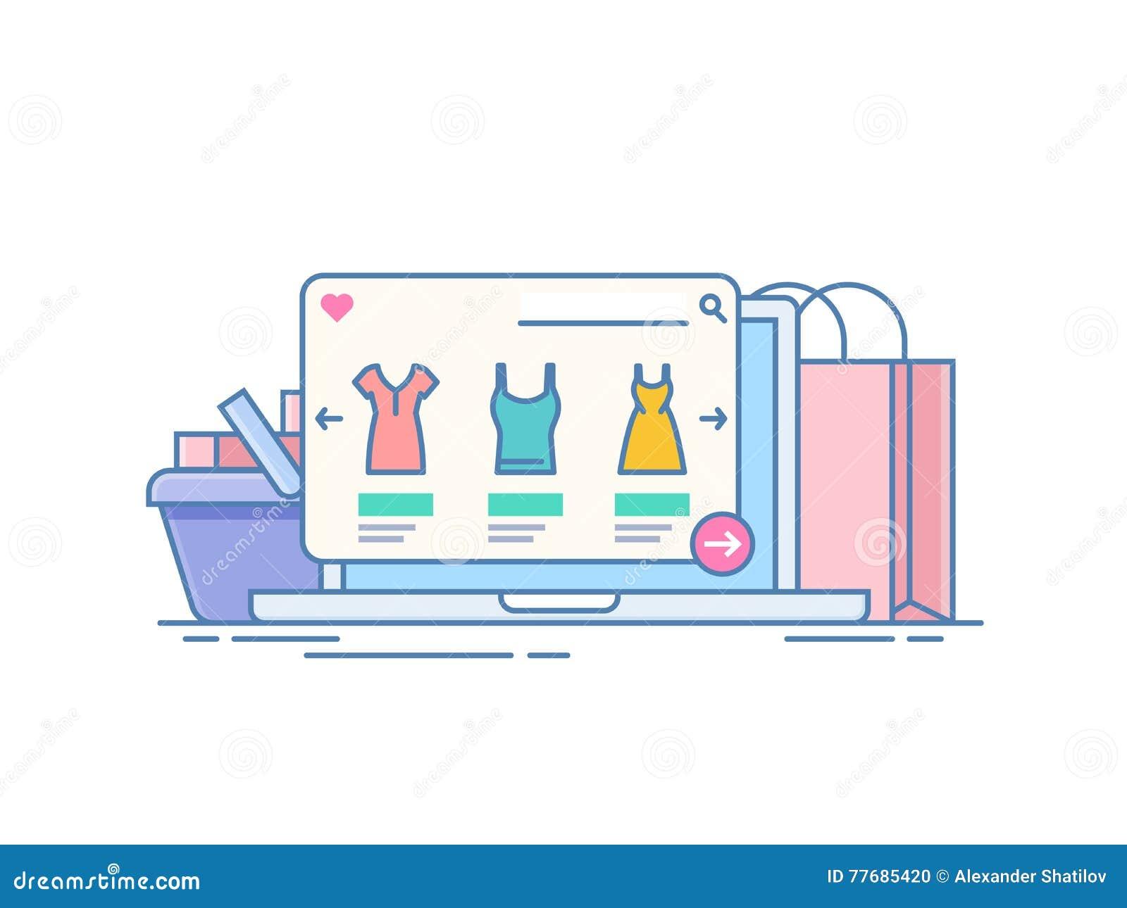Tienda en línea Concepto de compra en Internet con el uso en el ordenador portátil Ordenador en el fondo de