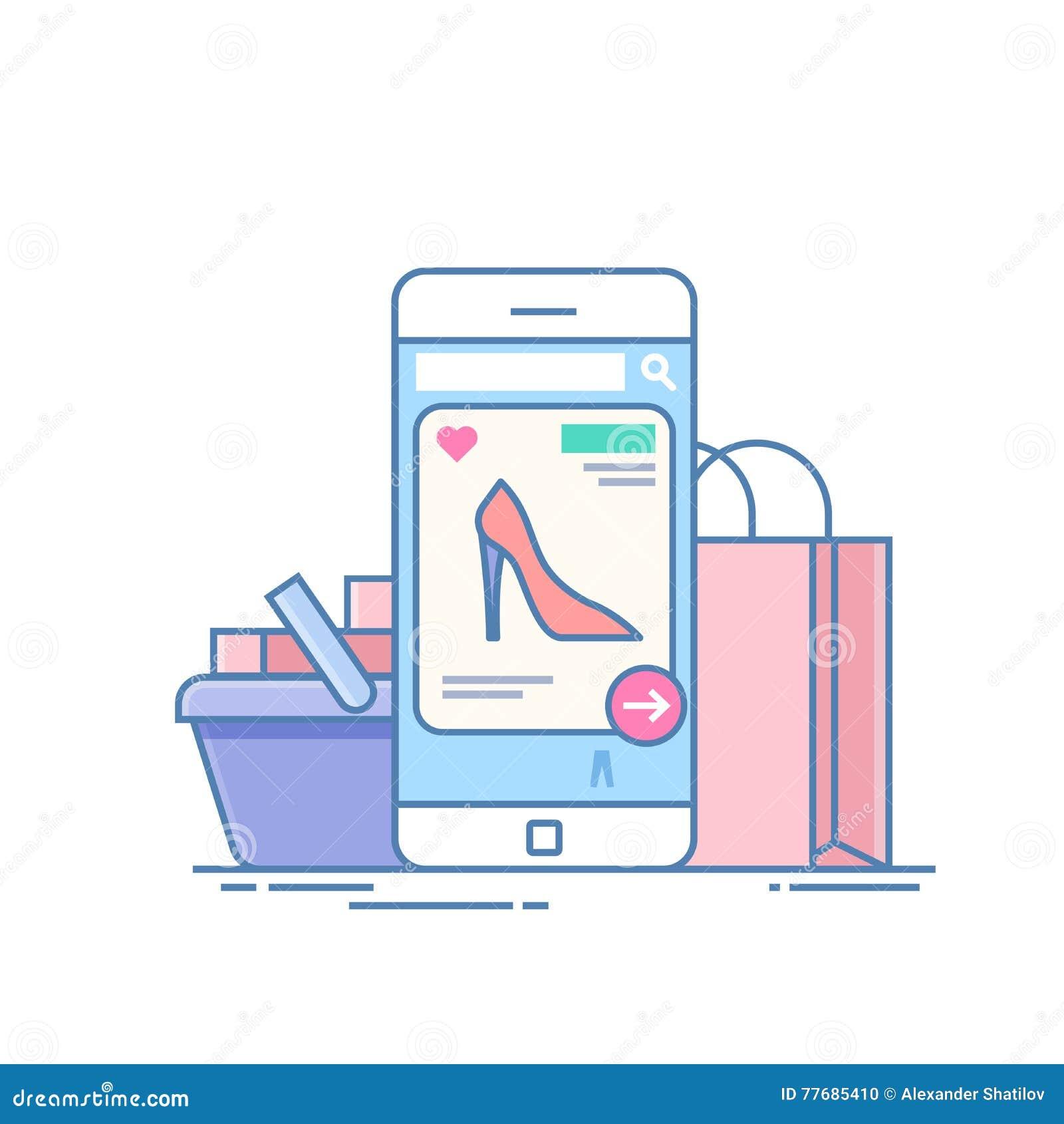Tienda en línea Concepto de compra en Internet con el uso en el teléfono Dispositivo móvil en el fondo
