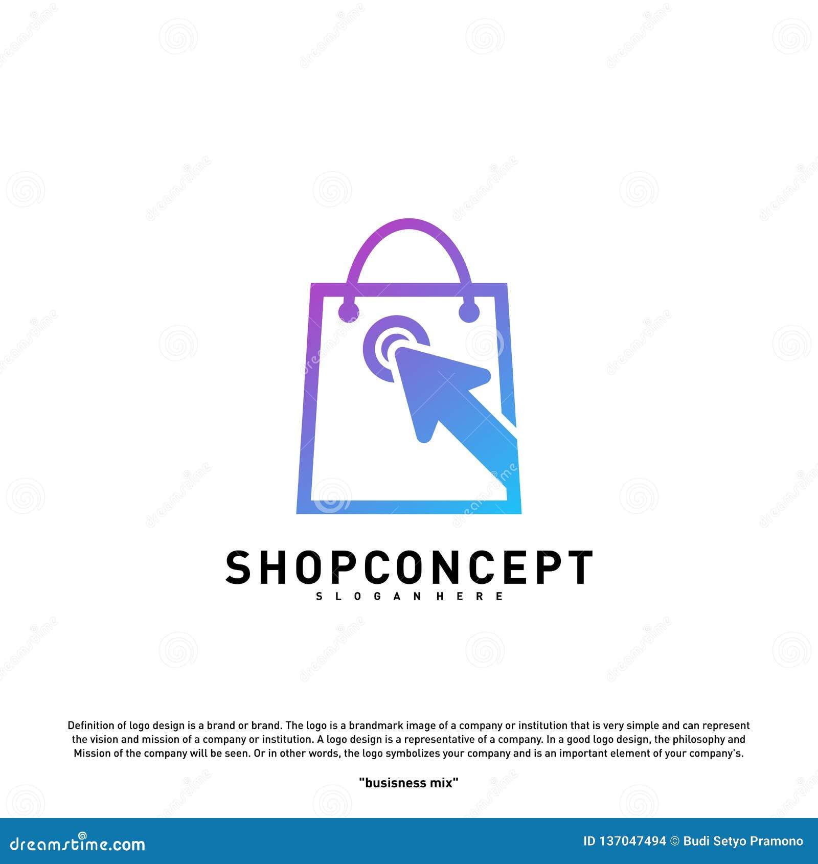 Tienda en línea Logo Design Concept Centro comercial en línea Logo Vector Símbolo de la tienda en línea y de los regalos