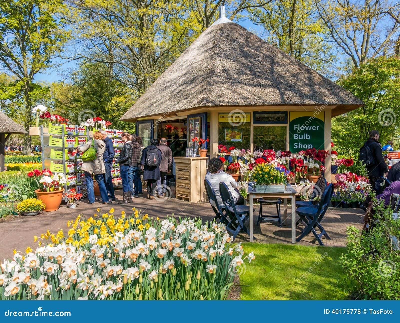 Tienda en los jardines de keukenhof holanda del bulbo de for Jardin keukenhof