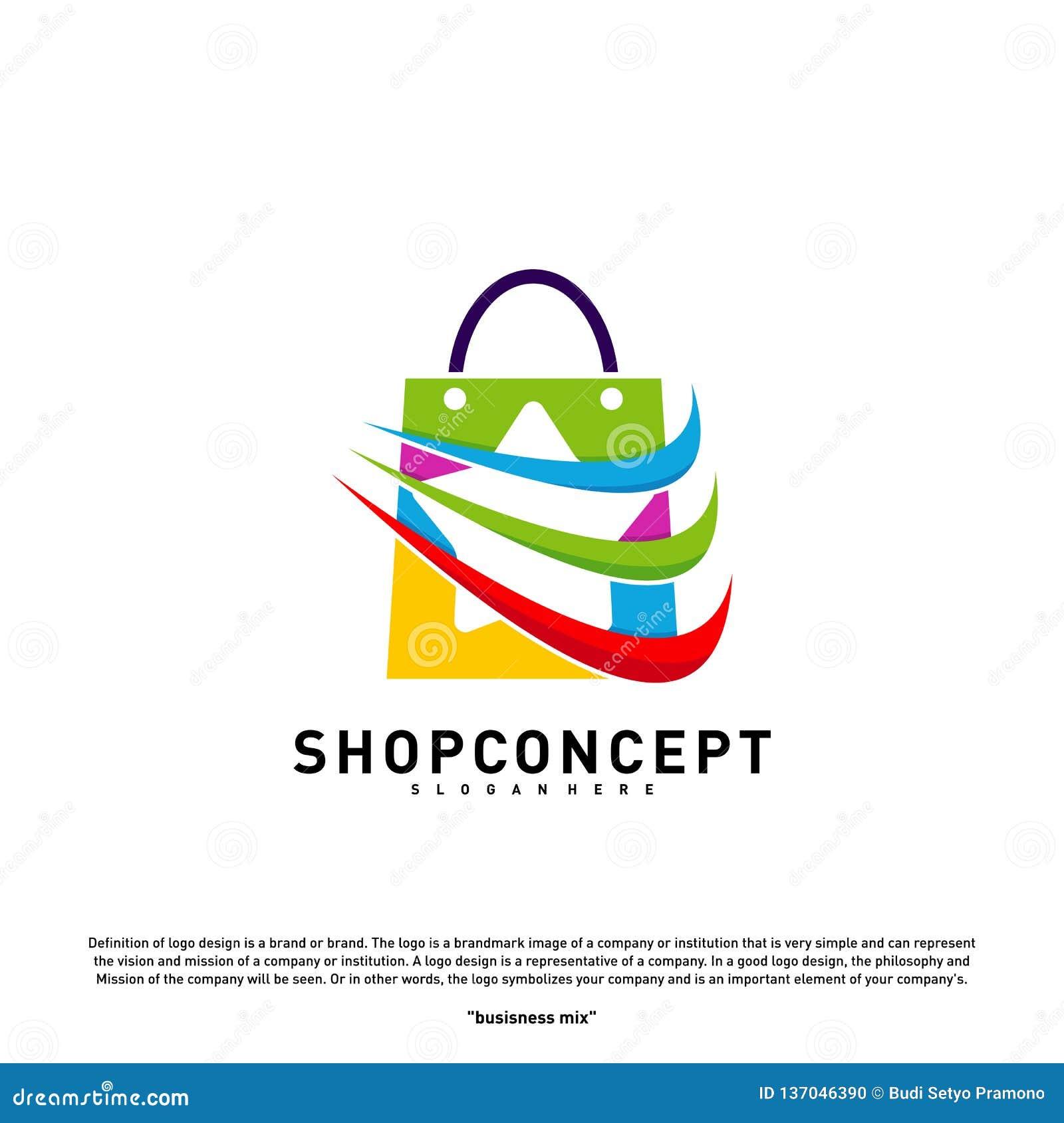Tienda Logo Design Concept de la estrella Centro comercial Logo Vector Símbolo de la tienda y de los regalos