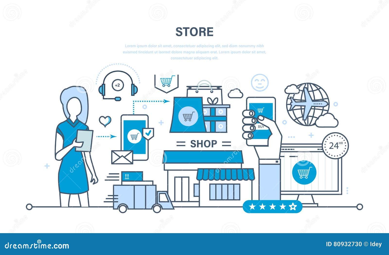 Tienda Y Compra En Línea, Entrega, Soporte Técnico Ilustración del ...