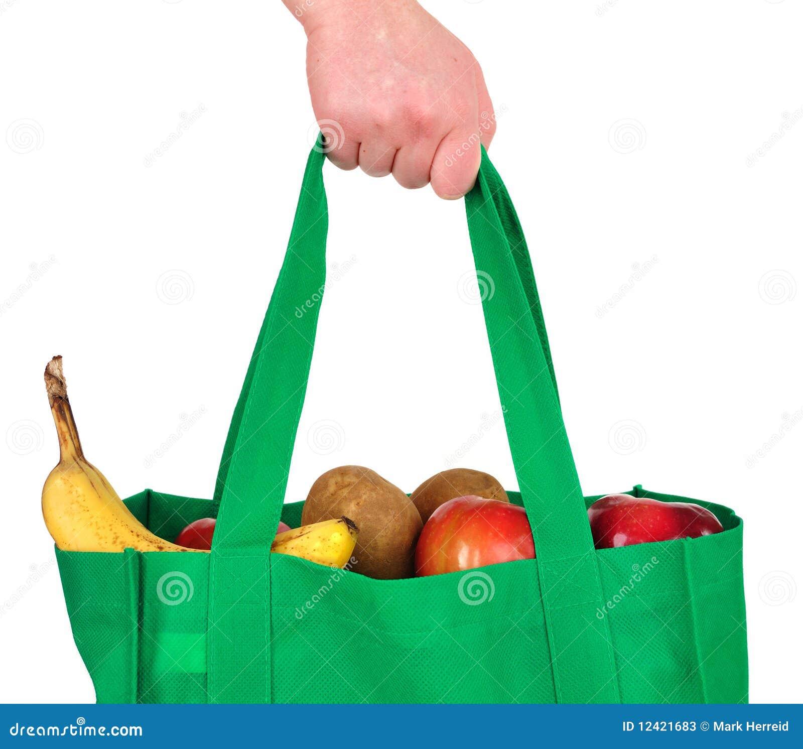 Tiendas de comestibles que llevan en bolso verde reutilizable