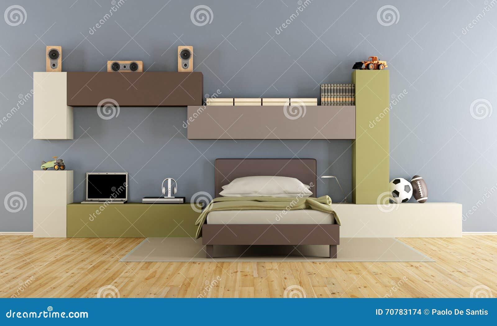 Tienerslaapkamer stock illustratie. Illustratie bestaande uit blauw ...