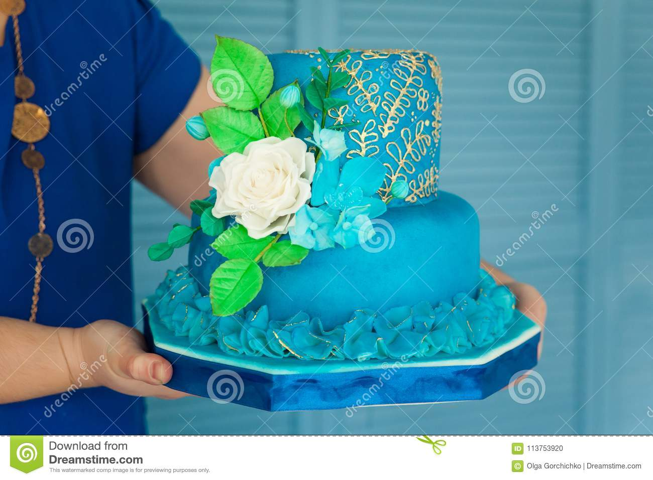 Blue And Gold Birthday Or Wedding Cake Stock Photo Image Of