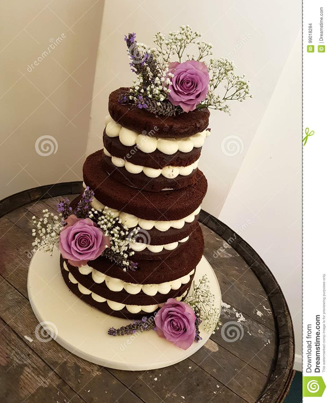 3 Tier Chocolate Naked Cake With Fresh Flowers Stock Photo Image
