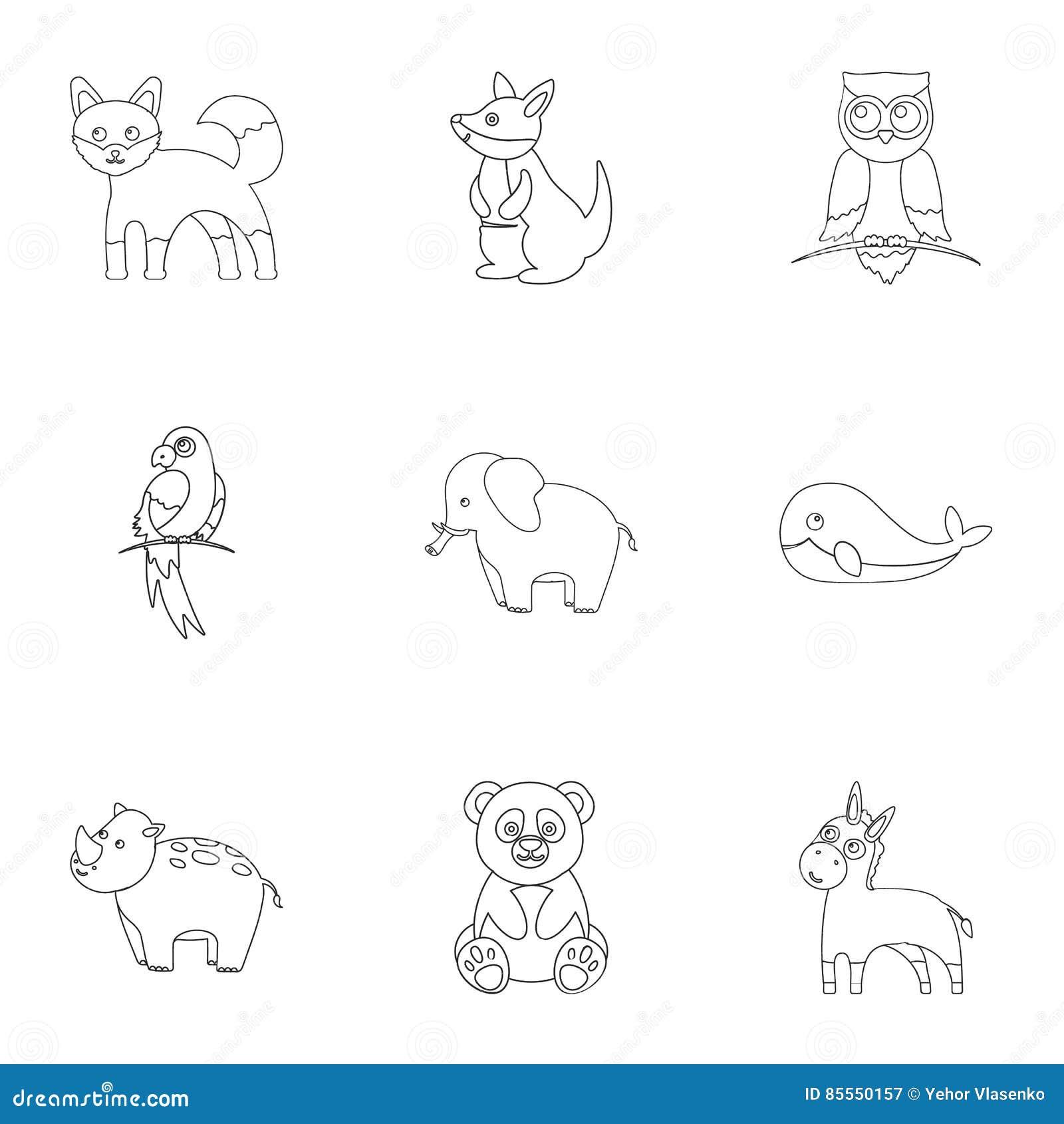 Tiere stellten Ikonen in der Entwurfsart ein Große Sammlung der Tierillustration