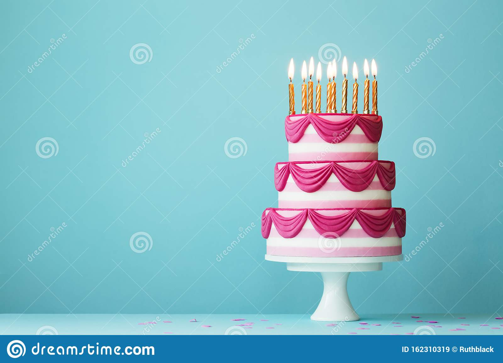 Strange Tiered Birthday Cake With Golden Candles Stock Image Image Of Funny Birthday Cards Online Inifofree Goldxyz