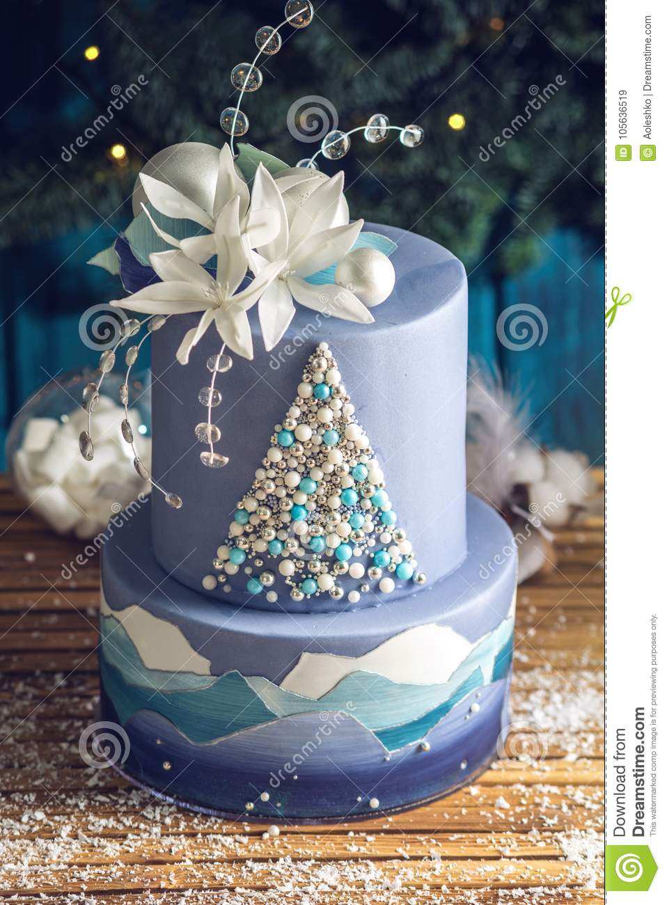 Tiered Cake The Blue Cake With The Image Of A Christmas Tree And