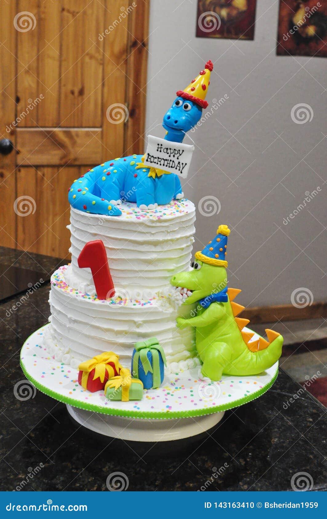 Fabulous Child S Dinosaur Birthday Cake Stock Photo Image Of Baked Personalised Birthday Cards Bromeletsinfo