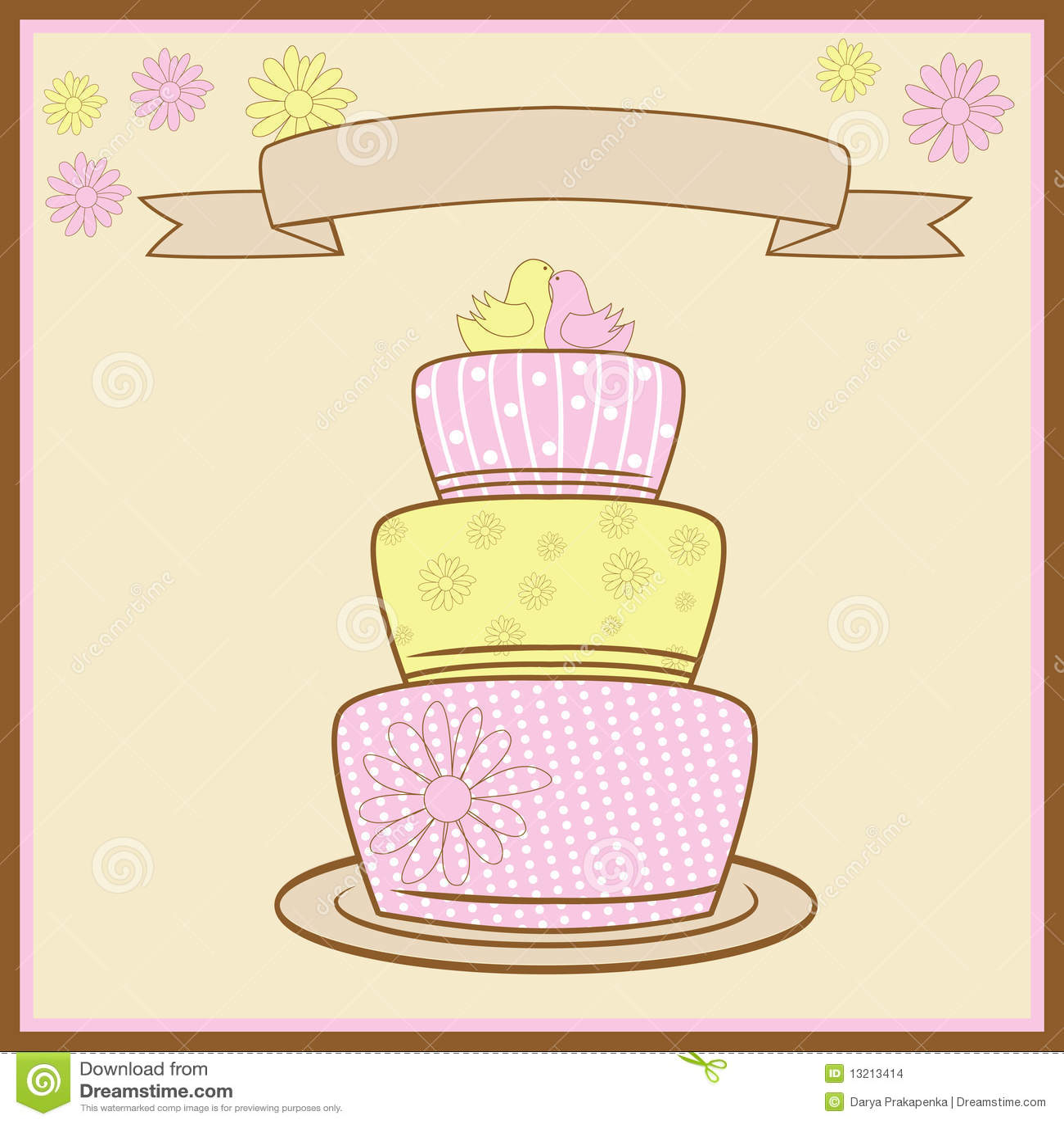 Tiered Wedding Cake. Vector Illustration Stock Vector - Illustration ...