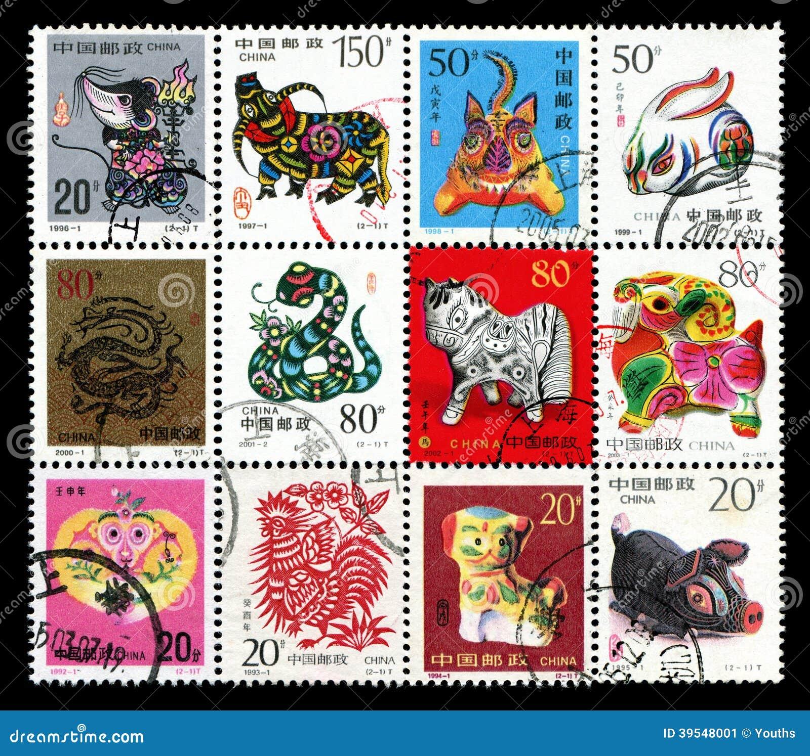 Tierkreis-Briefmarke mit 12 Chinesen