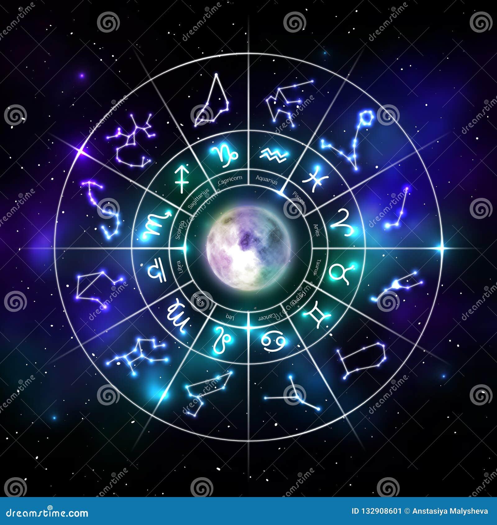 Tierkreiskreis mit Astrologiesymbolen in der Neonart