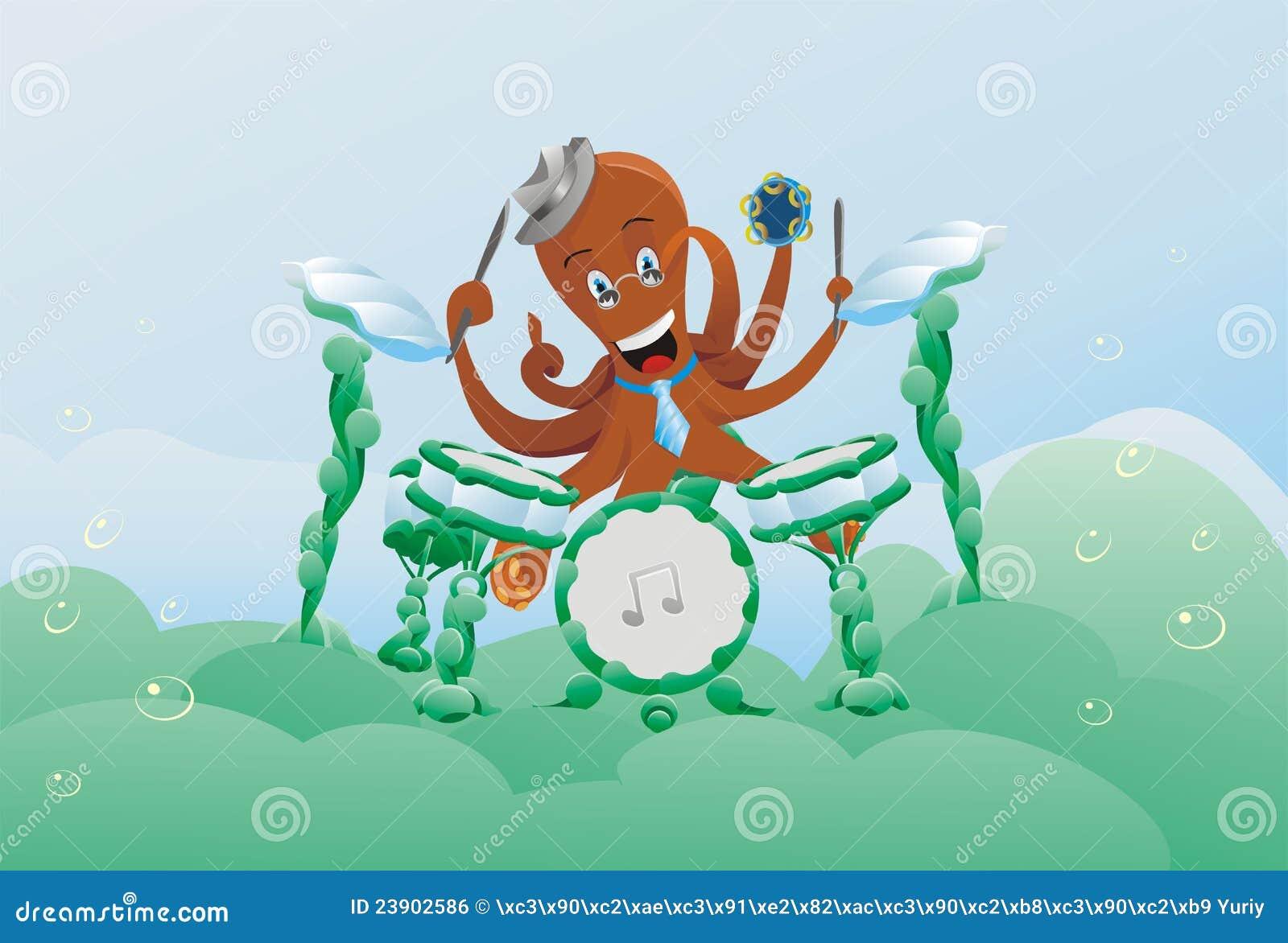 tiermusik poulpe zeichentier unterwasser vektor abbildung