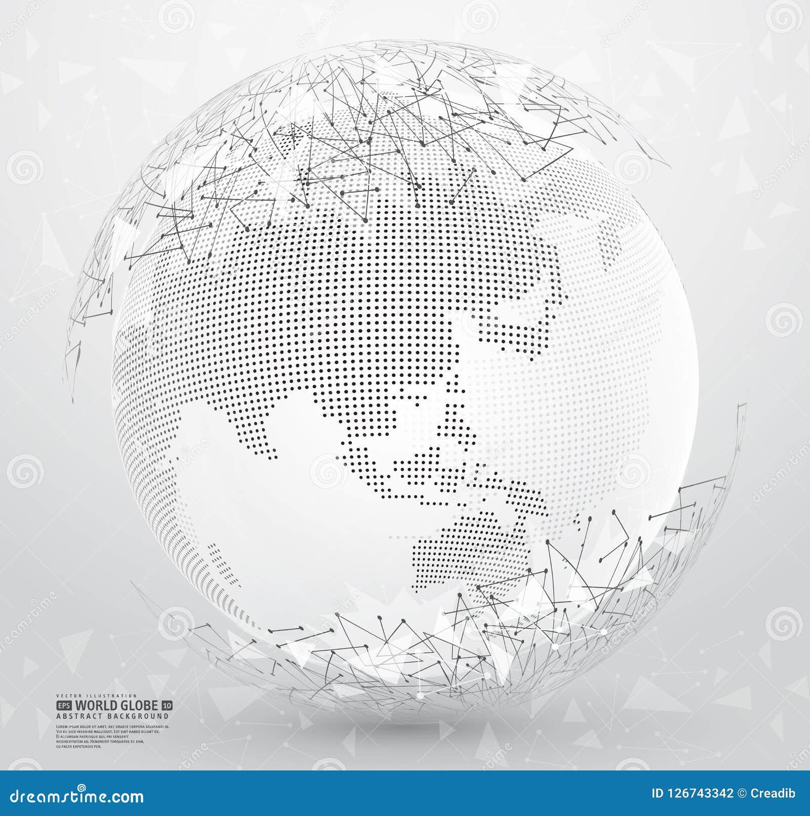 Tierra abstracta del planeta con los puntos y las líneas de conexión poligonales