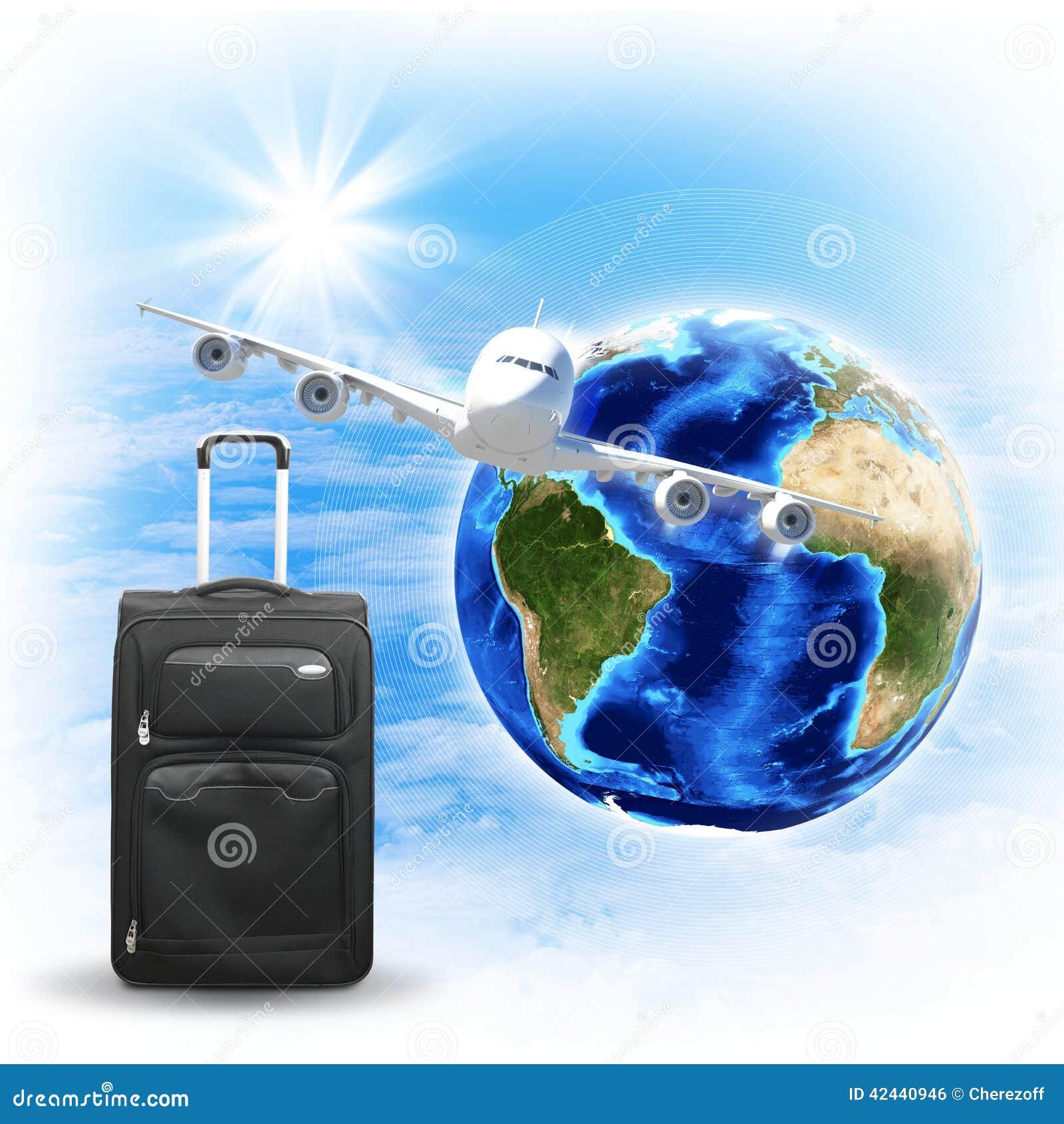 Tierra con el bolso del aeroplano y del viaje