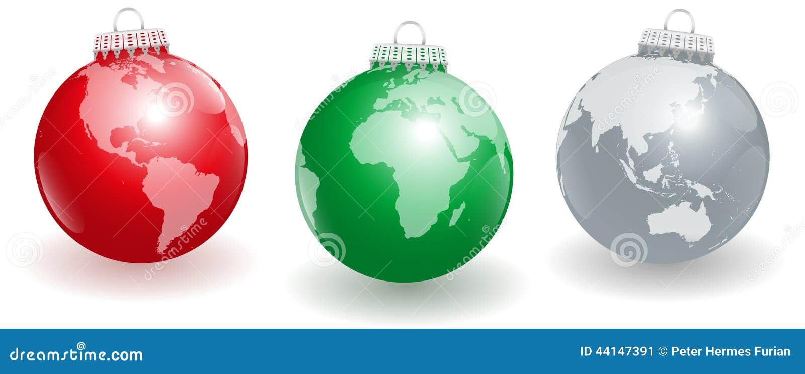 Tierra del planeta de las bolas del rbol de navidad - Arbol de navidad de bolas ...