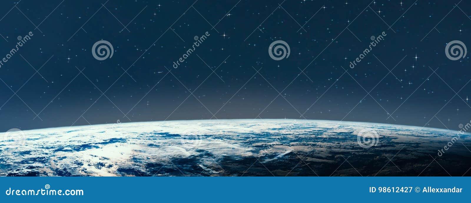 Tierra del planeta del espacio en la noche