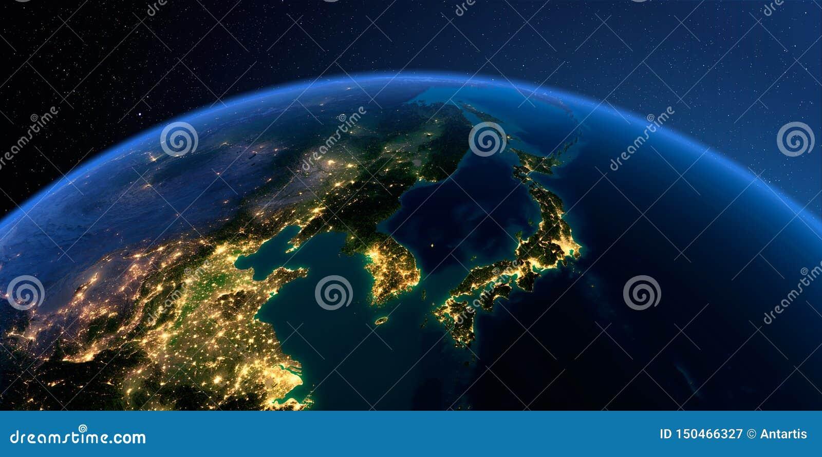 Tierra detallada Corea y Jap?n