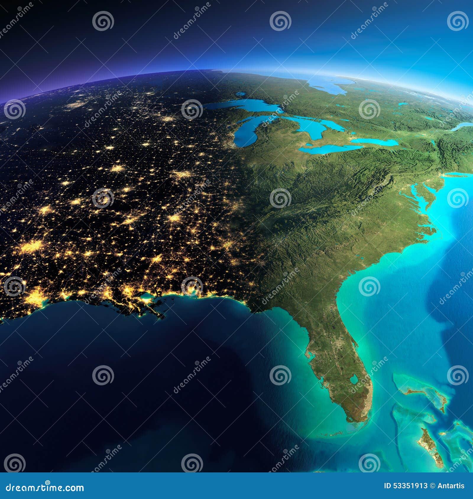 Tierra detallada El golfo de California, México y los estados de los E S