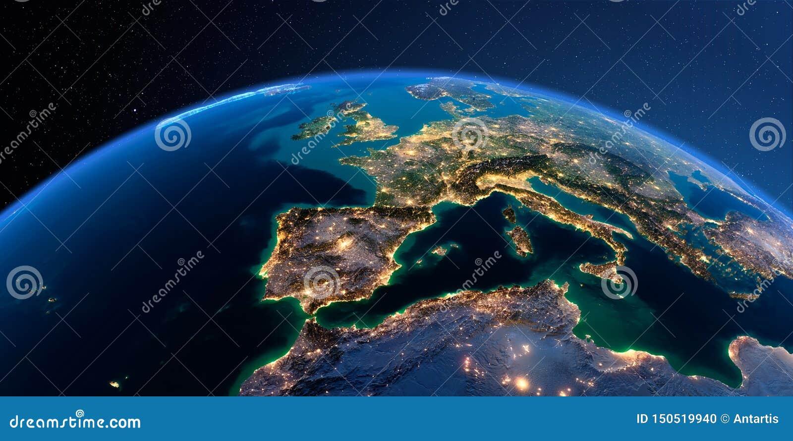 Tierra detallada Espa?a y el mar Mediterr?neo
