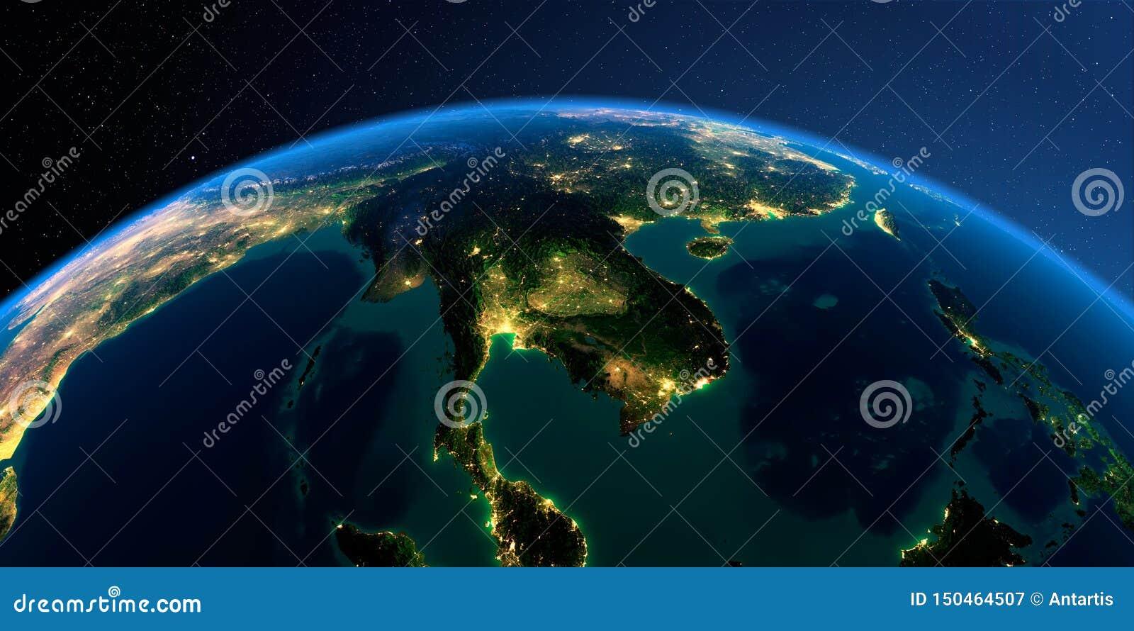 Tierra detallada Pen?nsula de Indochina en una noche iluminada por la luna