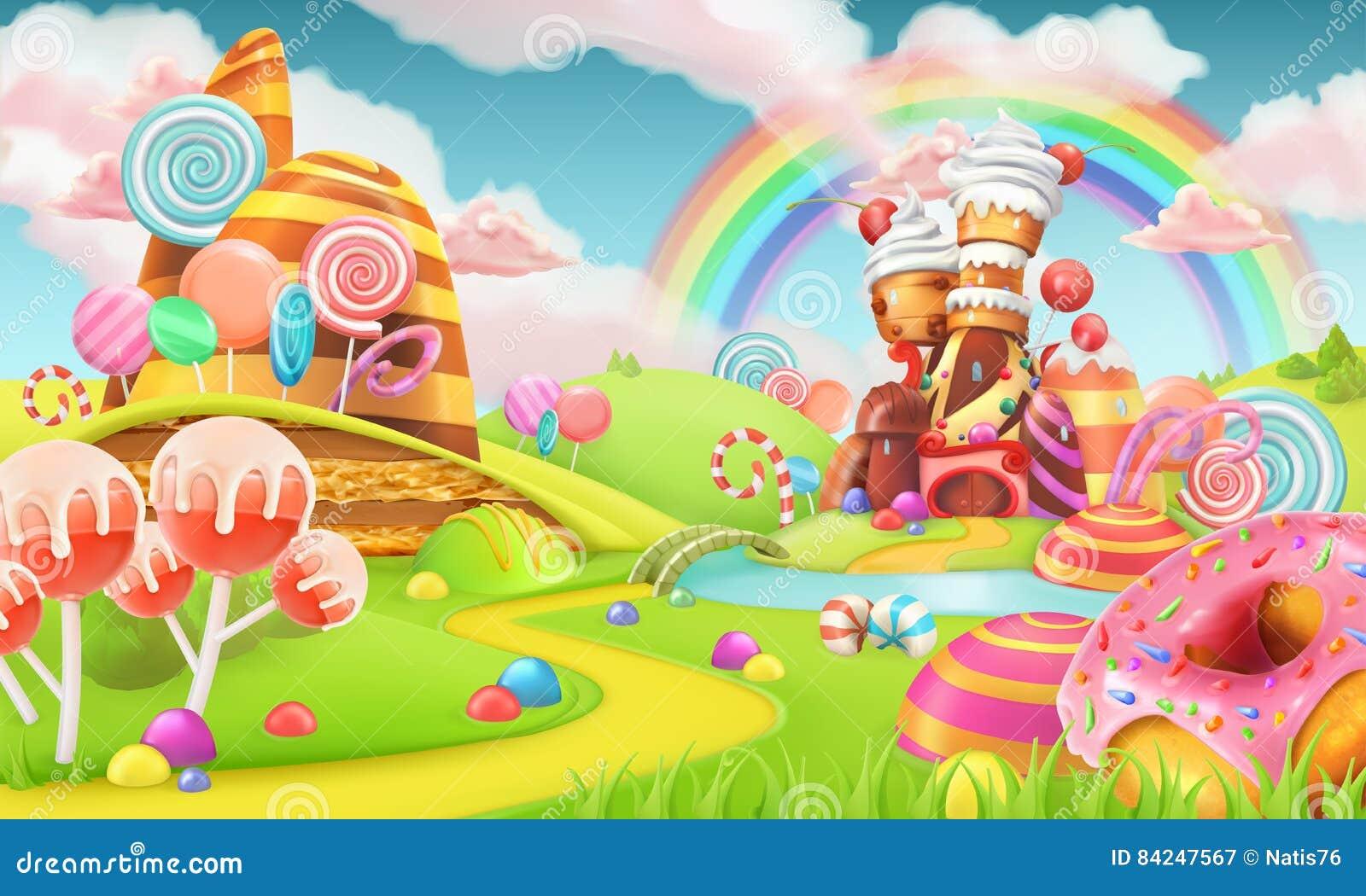 Tierra dulce del caramelo Fondo del juego de la historieta vector 3d