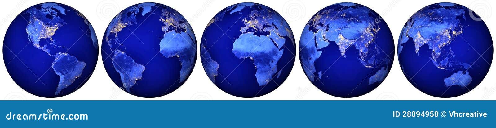 Tierra en la noche - hemisferios del globo