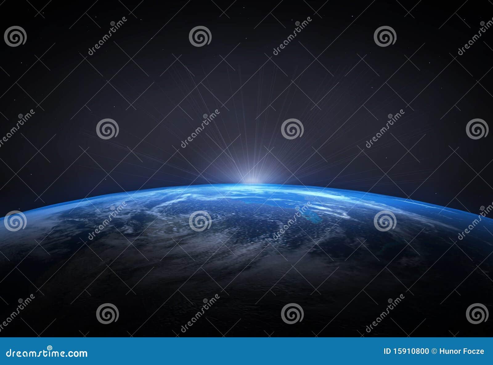 Tierra hermosa y el levantamiento Sun del planeta