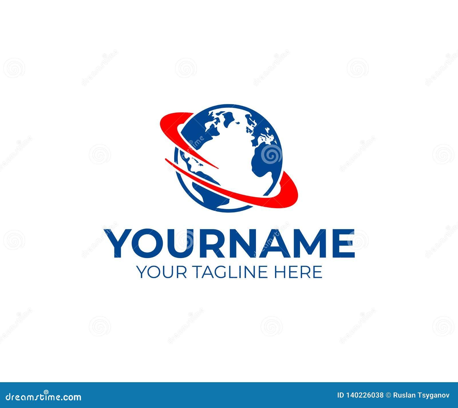 Tierra logística, del planeta con vuelta o remolino alrededor de él, diseño del logotipo Logística, entrega rápida de mercancías