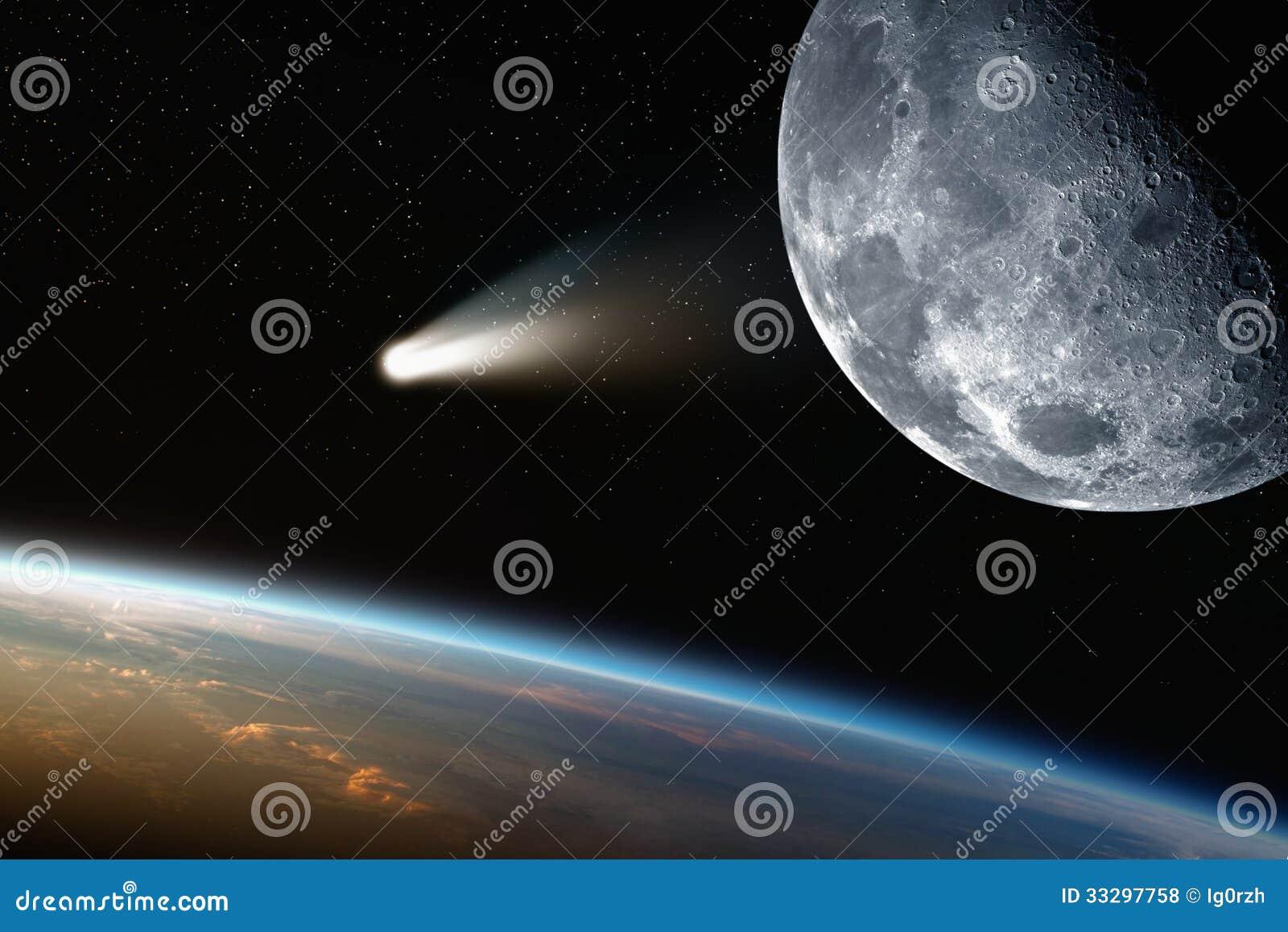 Tierra, luna, cometa en espacio