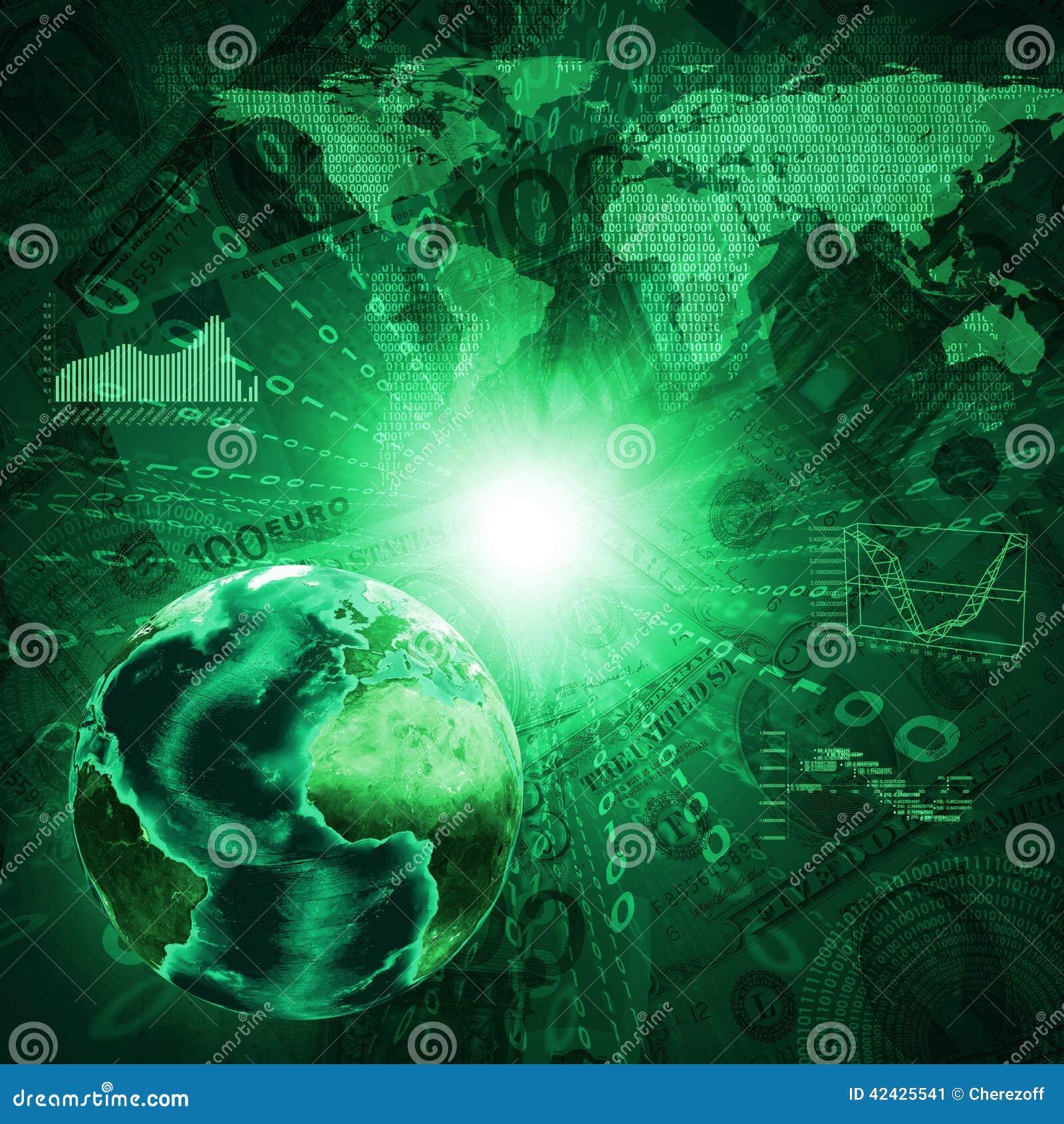 Tierra, mapa del mundo y gráficos en fondo del dinero