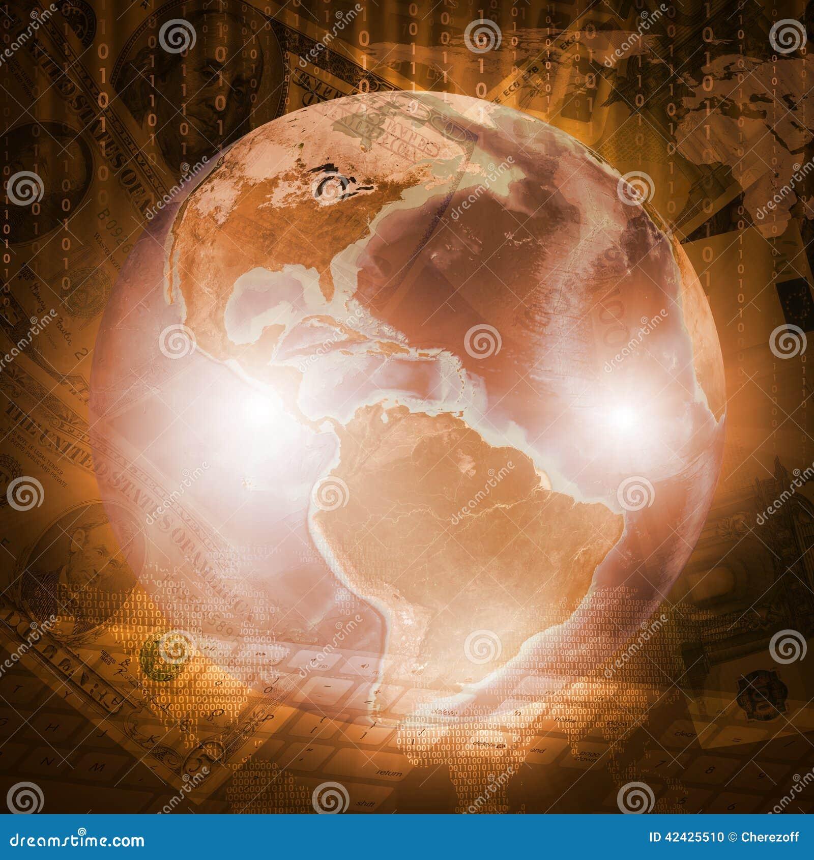 Tierra, mapa del mundo y teclado en fondo del dinero