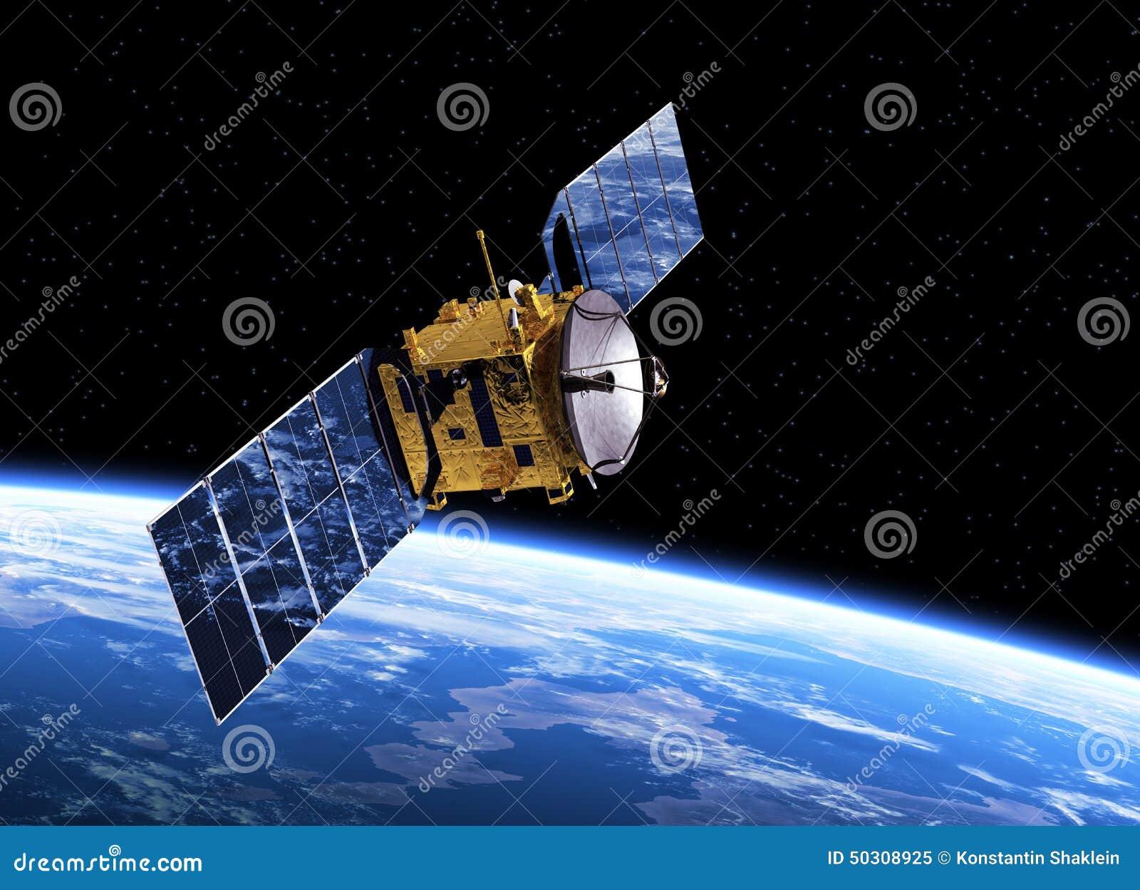Tierra que está en órbita del satélite de comunicación