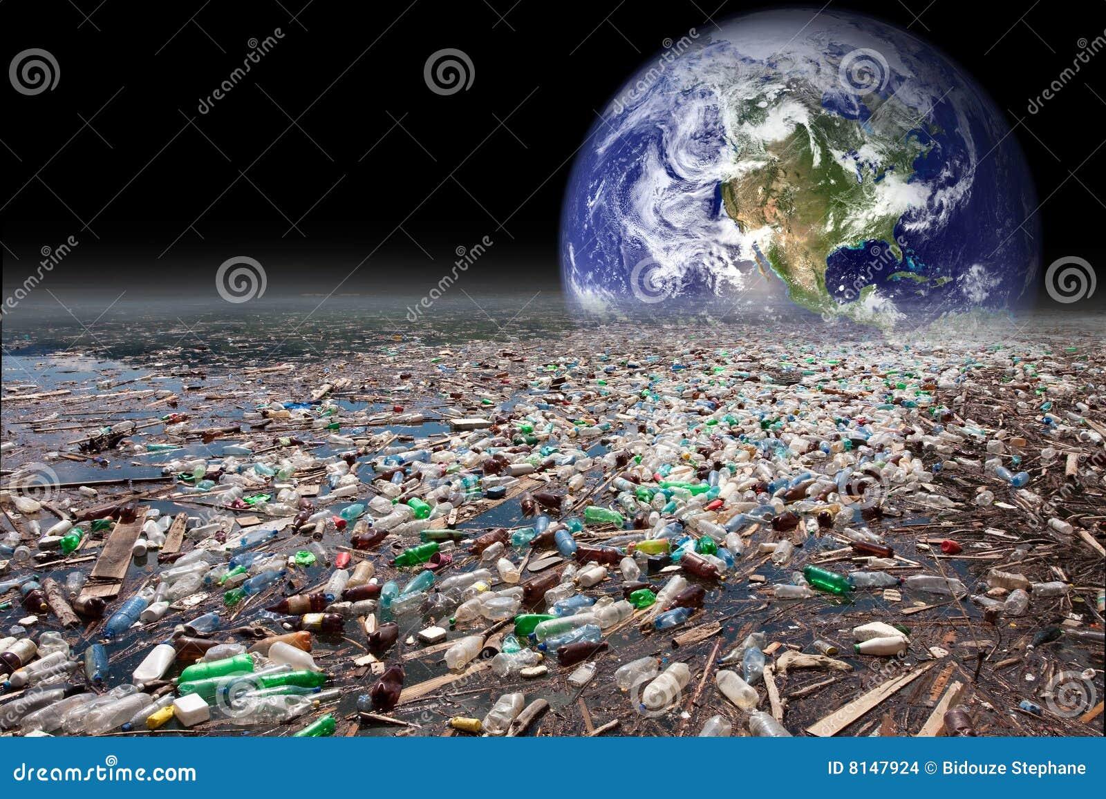 Tierra que se hunde en la contaminación