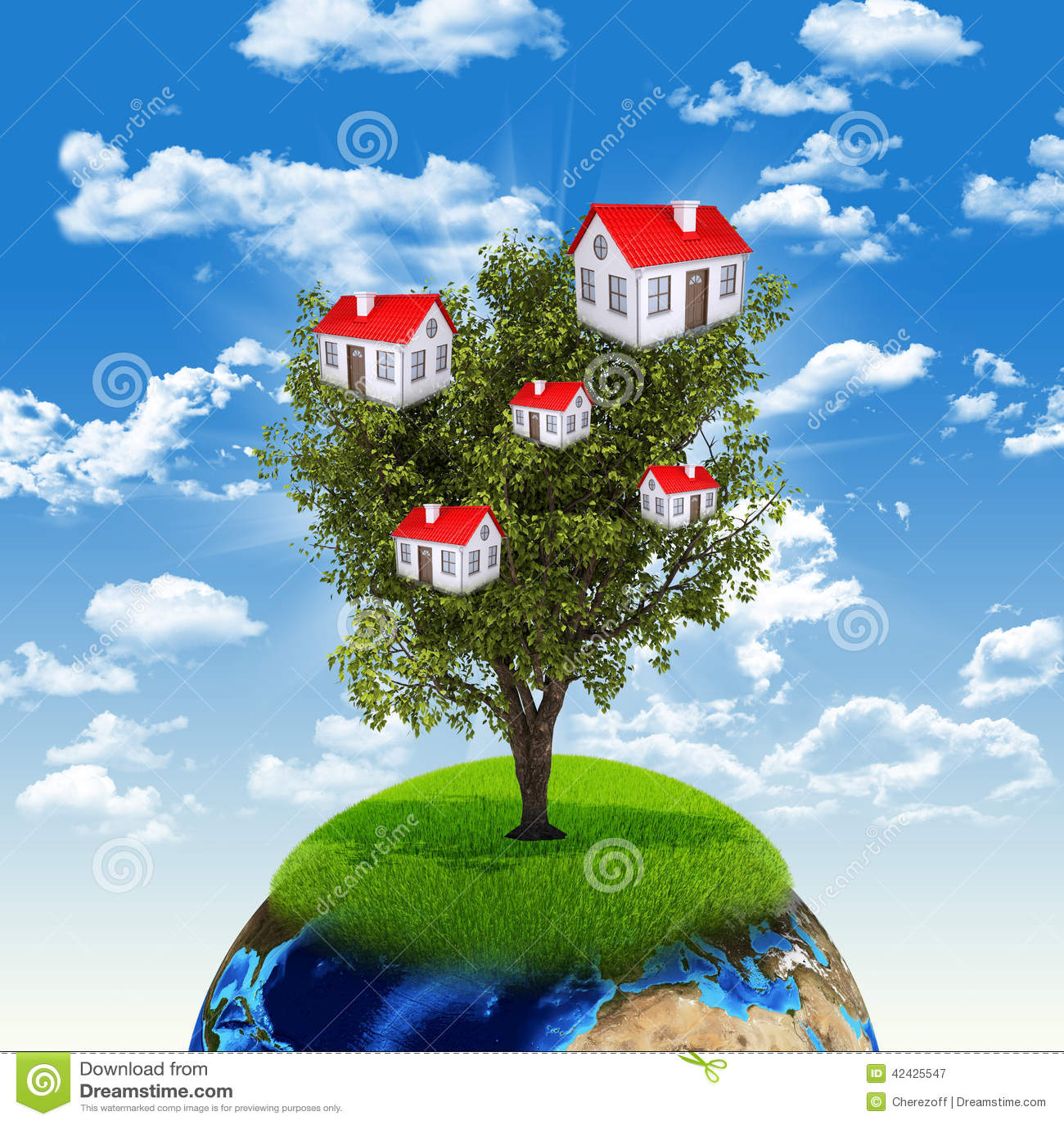 Tierra y árbol con las casas
