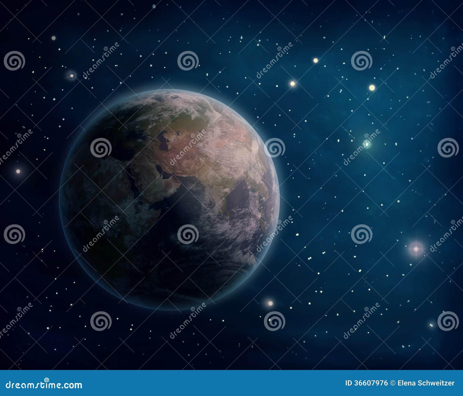 Tierra y estrellas del planeta