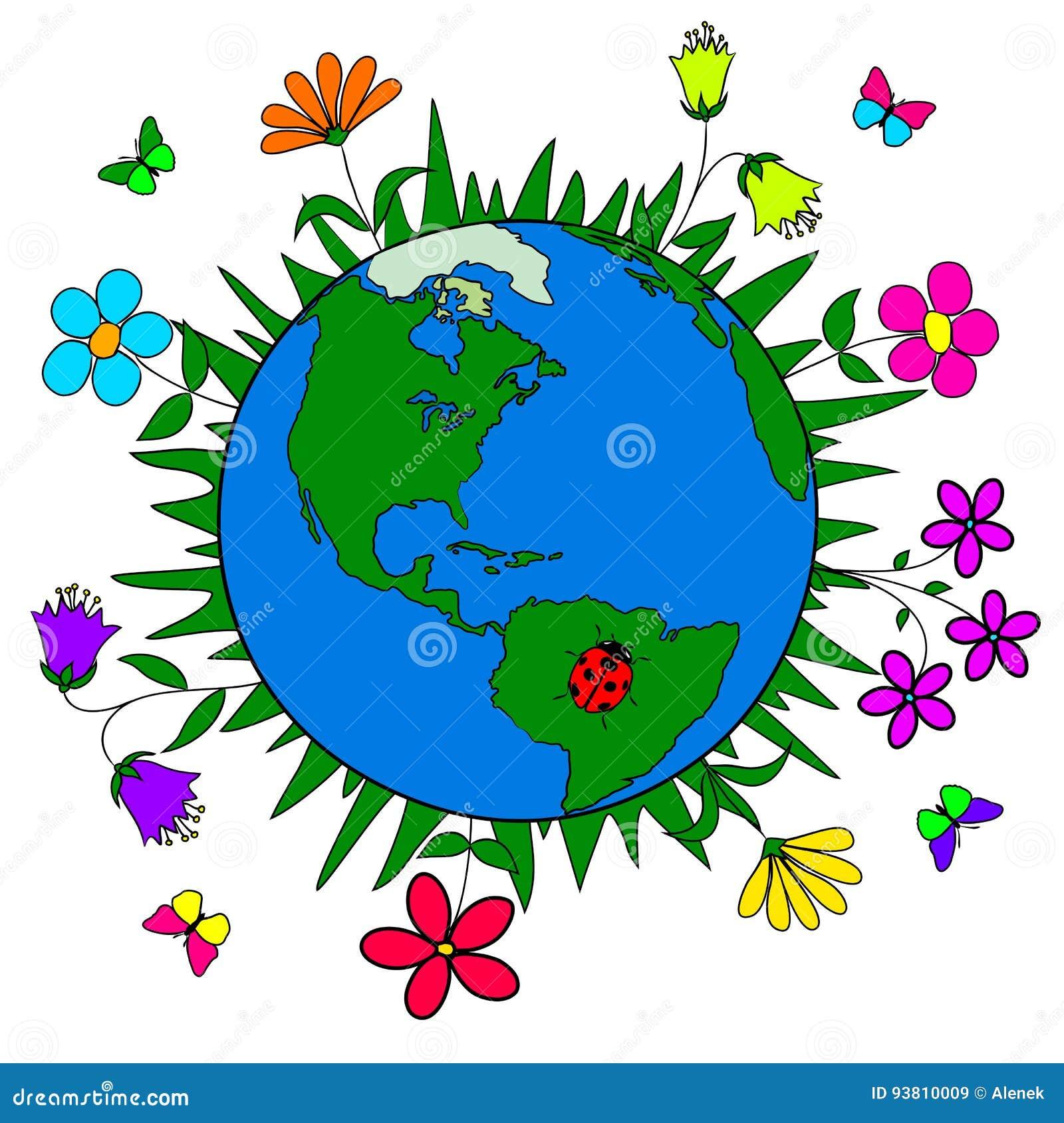Tierra Y Flores Hechas A Mano Protección De Naturaleza Ecología