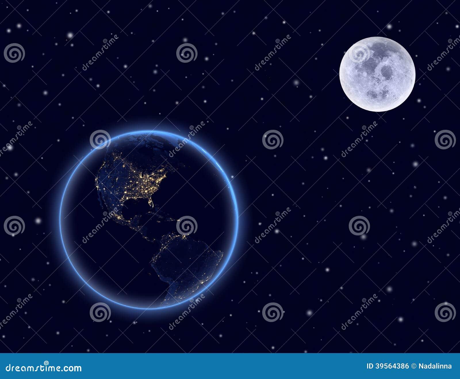 Tierra y luna del planeta en el cielo nocturno. Norte y Suramérica.