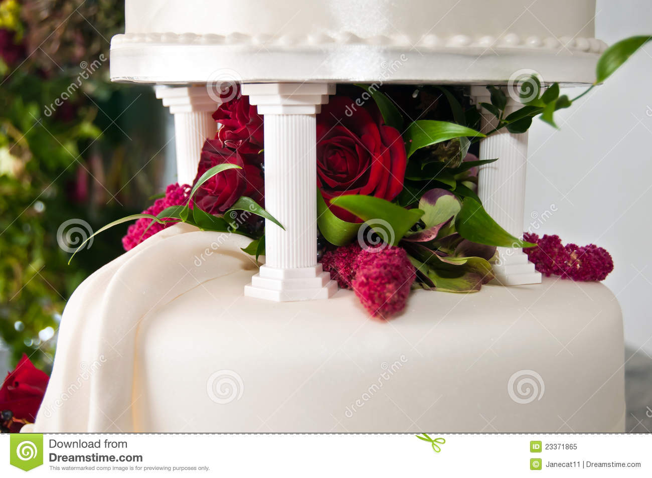 Tiers Wedding Cake With Flowers Royalty Free Stock
