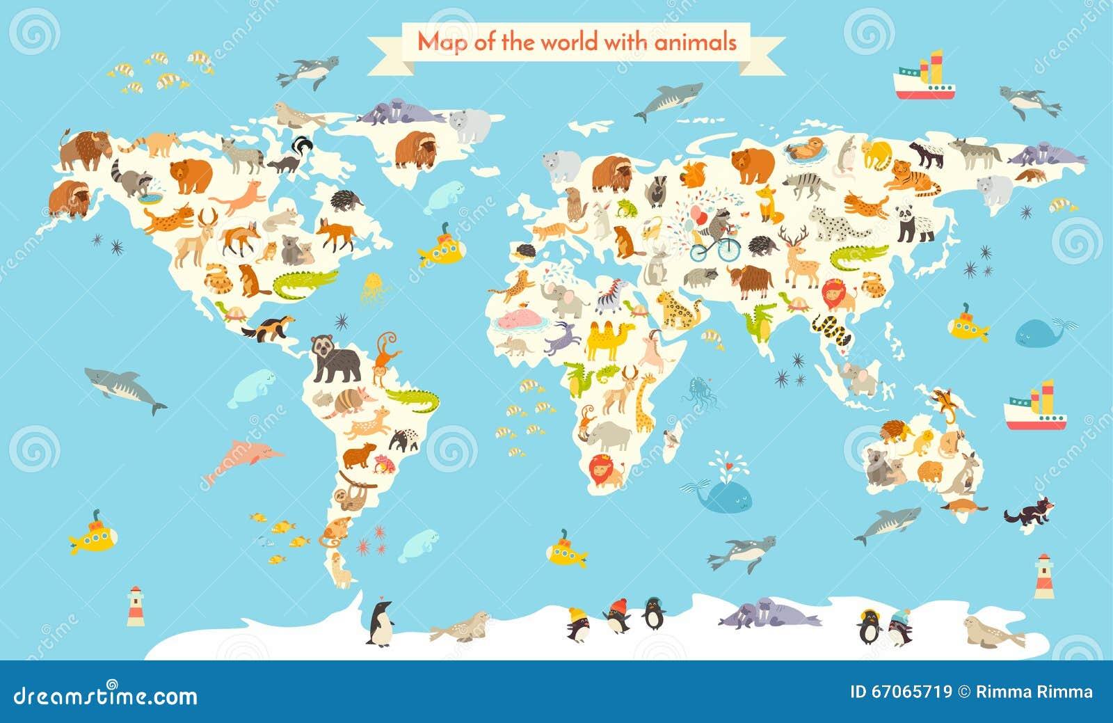 Tierweltkarte Bunte Karikaturvektorillustration für Kinder und Kinder