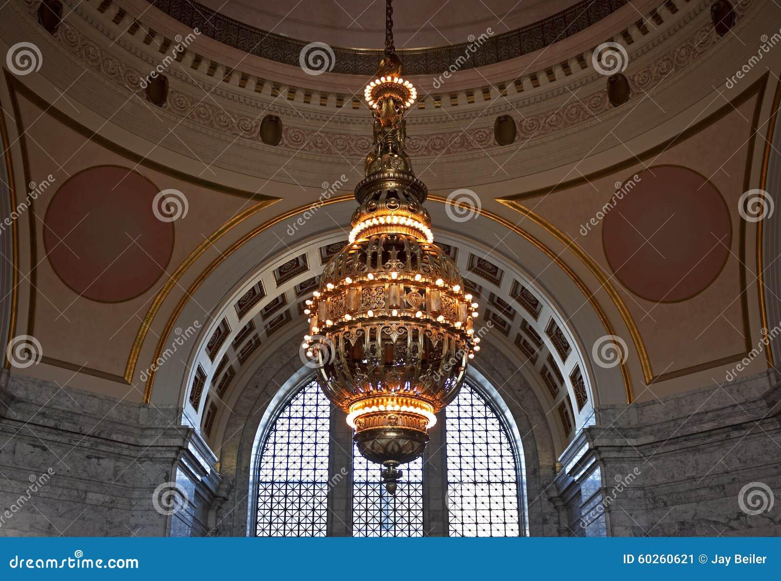 Tiffany Chandelier Washington State Capitol Stock Image