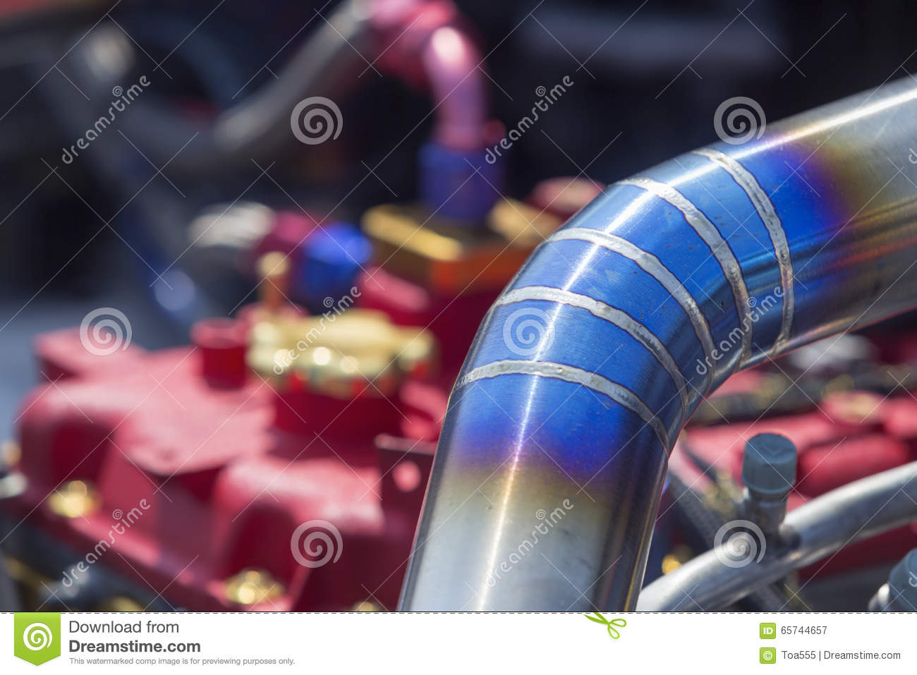 Tig welded stainless steel pipe in racing car stock image