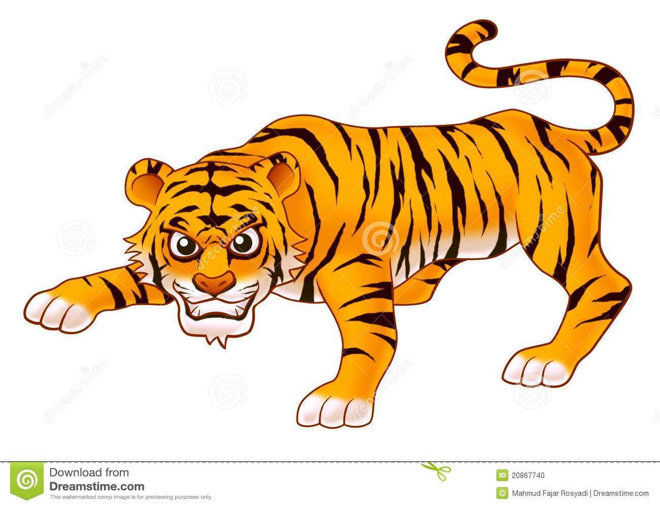 Tiger cartoon illustration for kids.