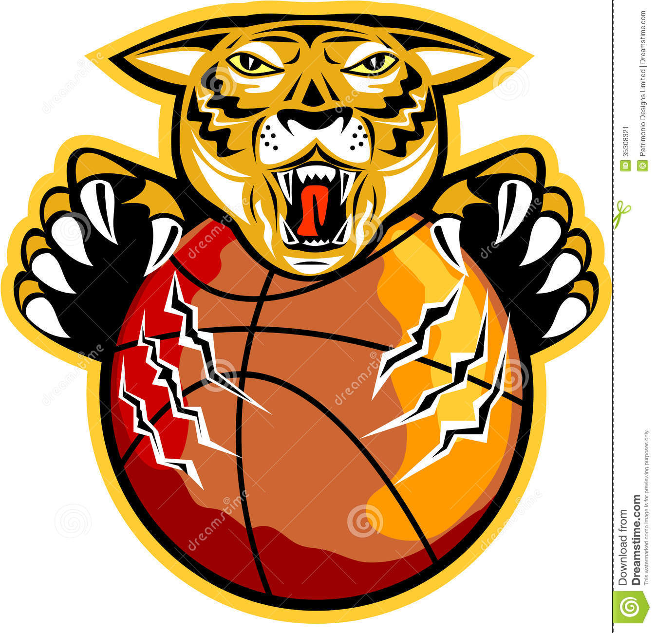 tiger basketball ball claws stock image