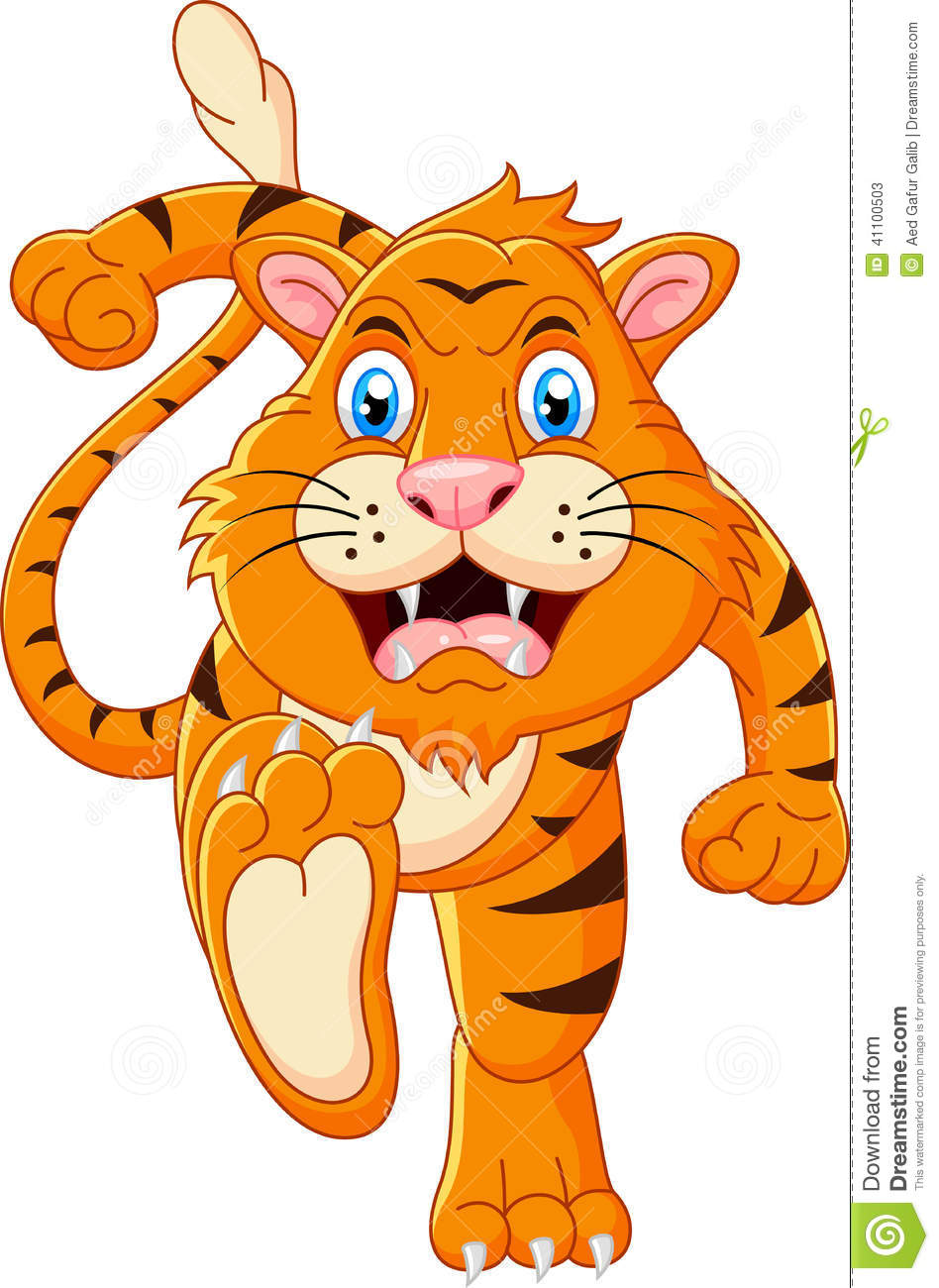 Tiger Cartoon Running Stock Vector - Image: 41100503