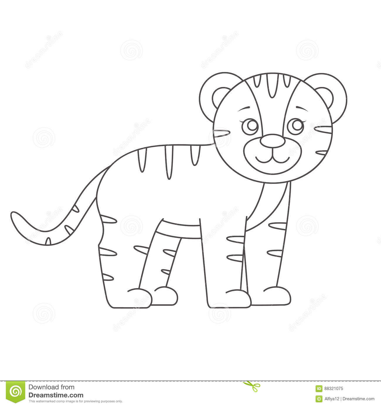 Tiger For Coloring Book Stock Vector Illustration Of Black
