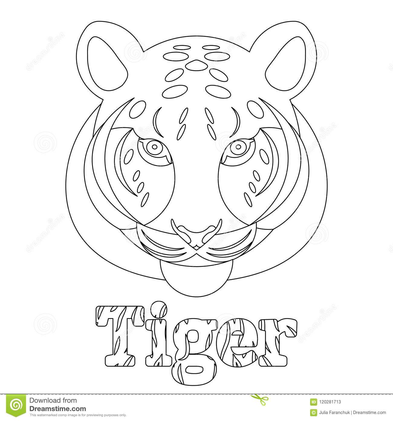 Tiger coloring page for kids wild mammal is an animal linear style