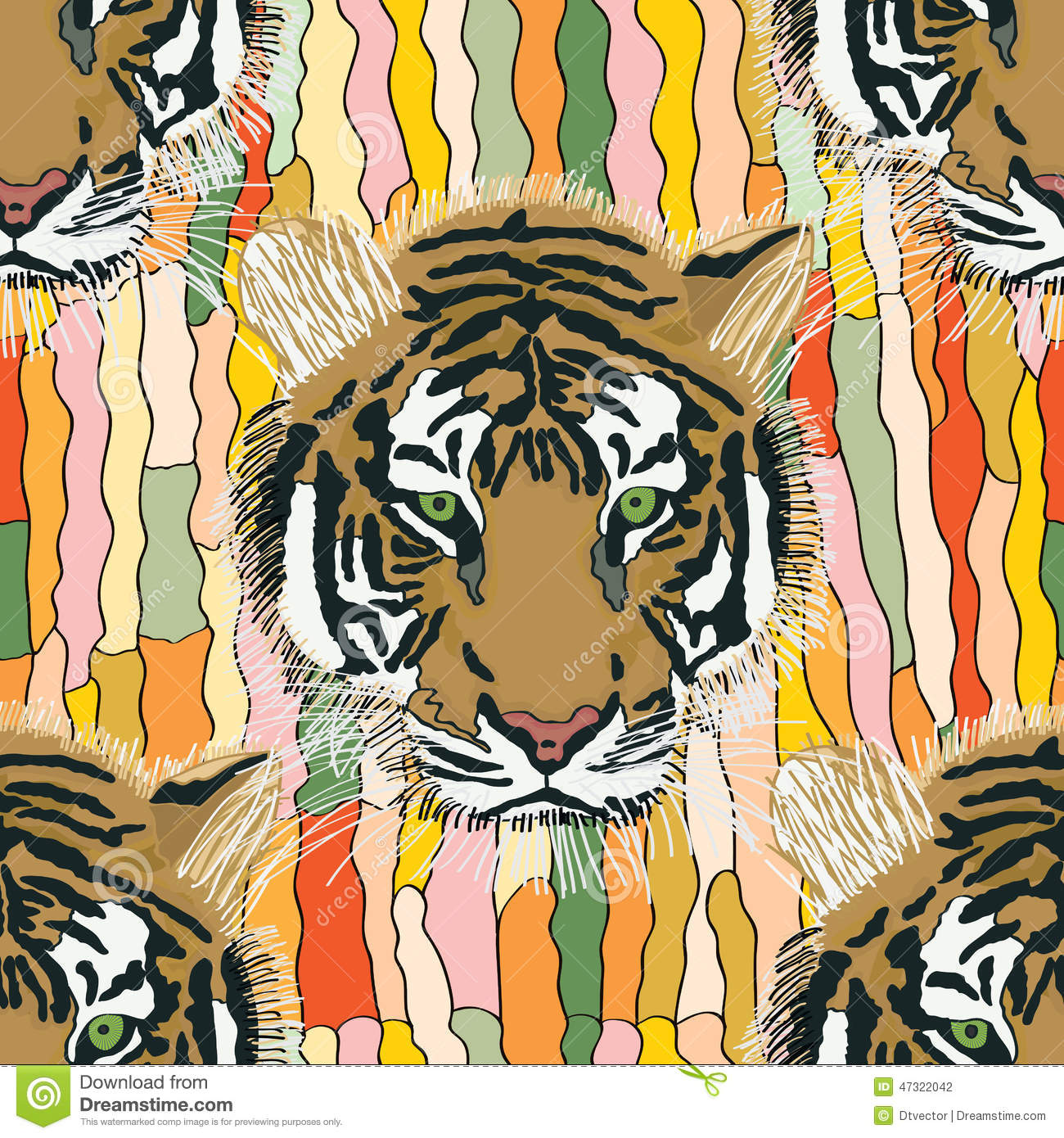 tiger cool seamless pattern stock vector